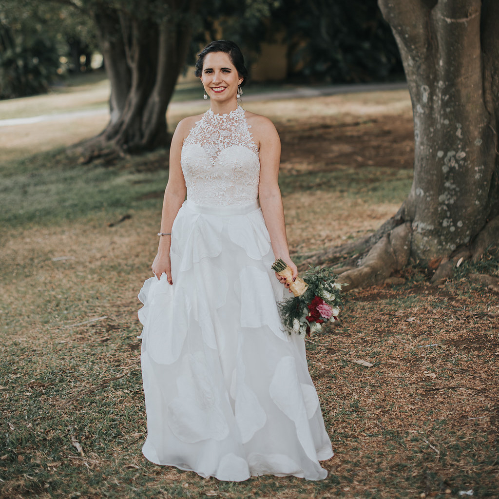 High neck wedding dress with lace overskirt by Anomalie