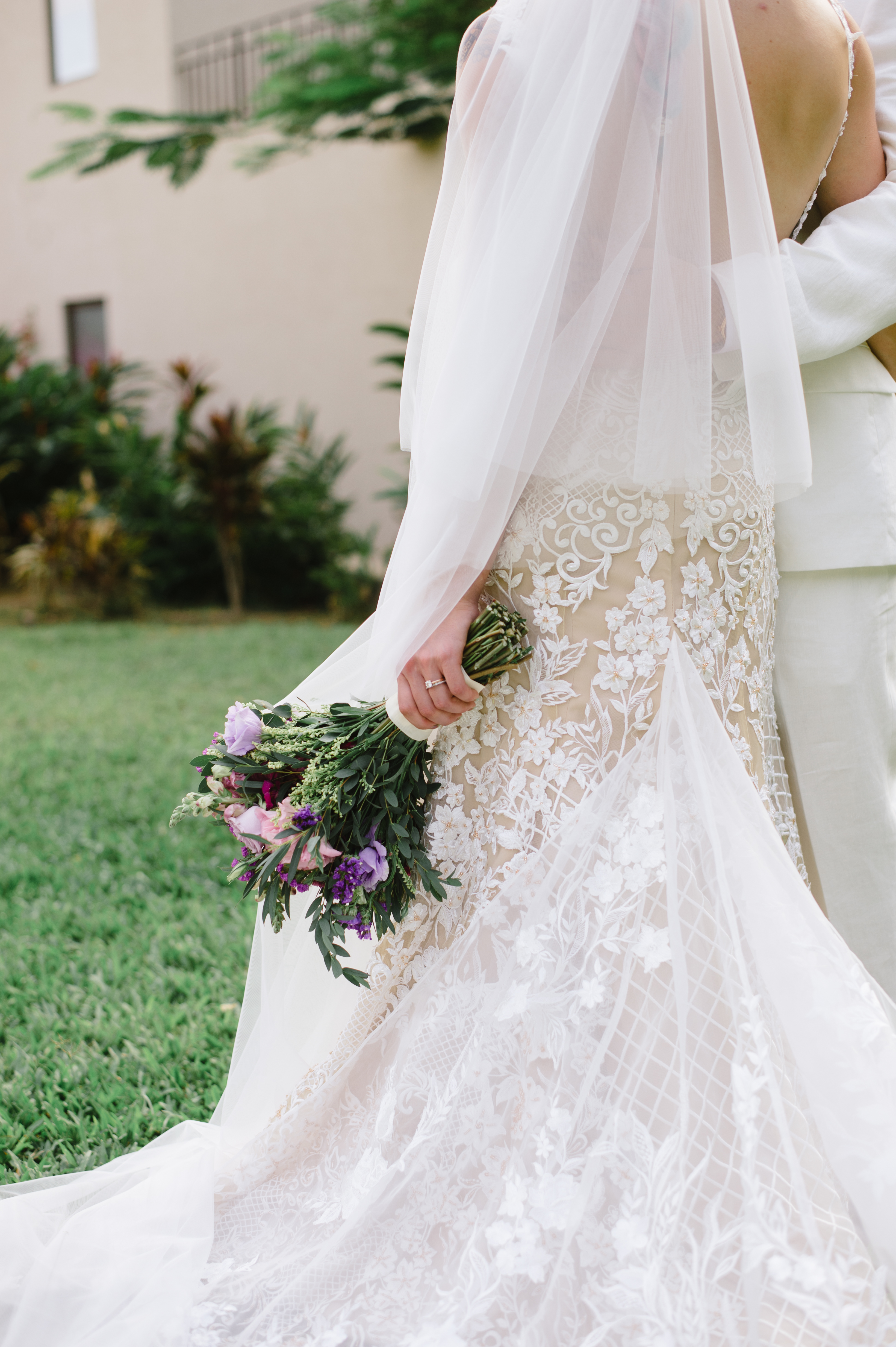 Tulle, organza and lace wedding gown.