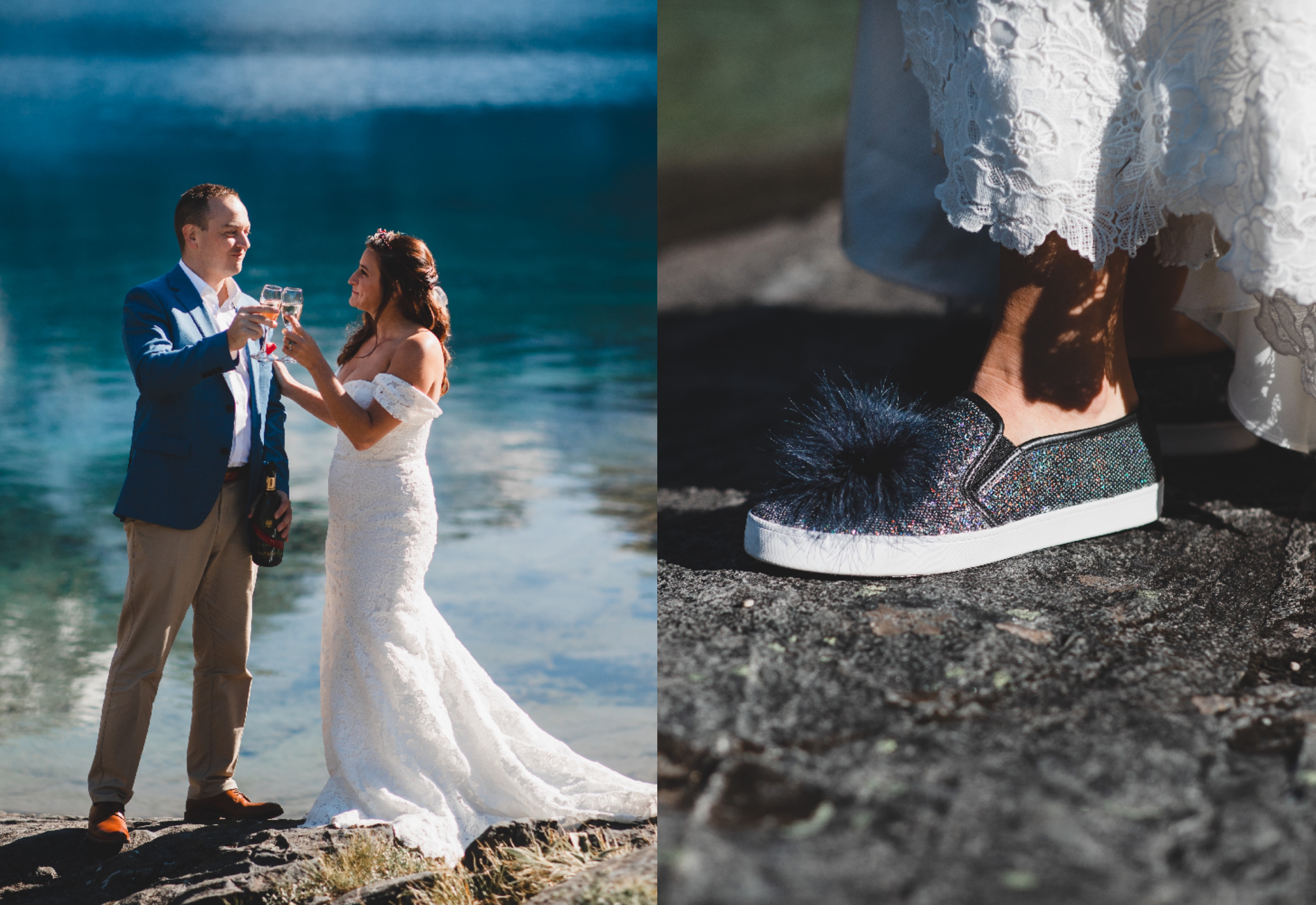 Anomalie bride wearing charcoal, glittery sneakers with a pom pom on top.