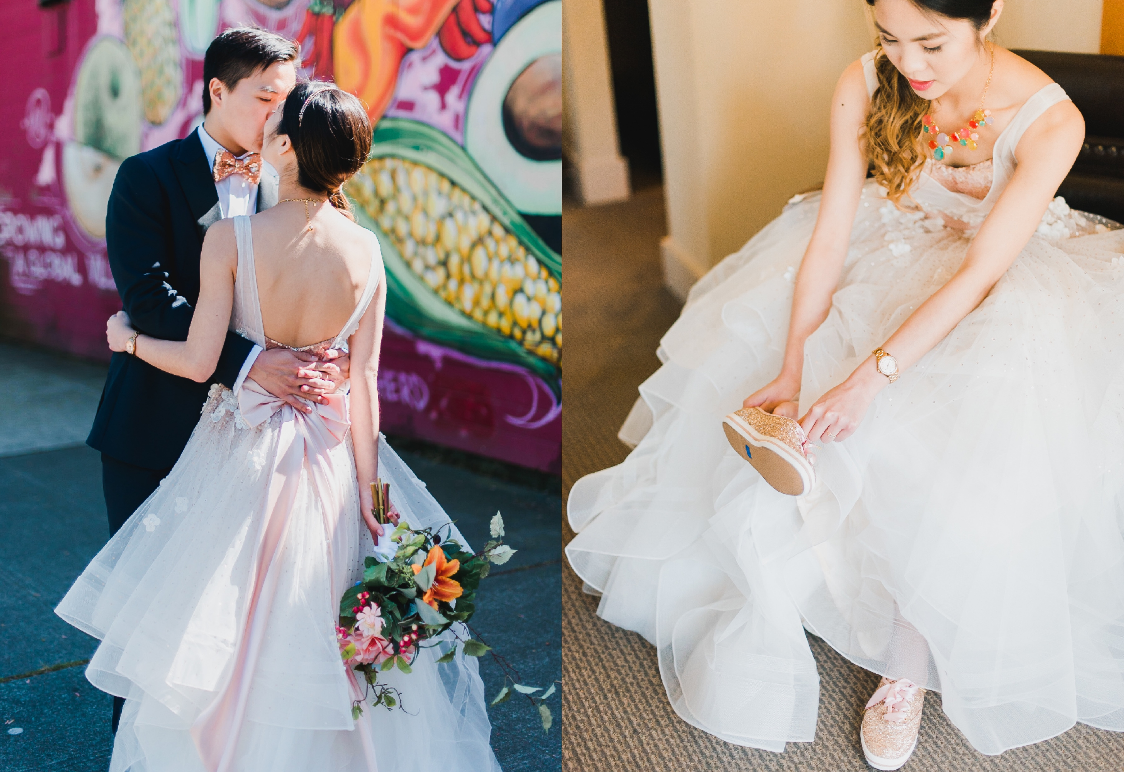 Anomalie bride wearing rose-gold sparkly sneakers with her puffy gown.